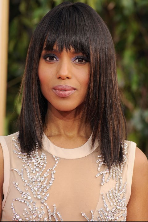 <strong>KERRY WASHINGTON</strong>  <br><br> From her choppy bangs and bob to her shimmery violet eyeshadow, we fell in love with Kerry Washington's cool-girl approach to red carpet beauty back in 2013.