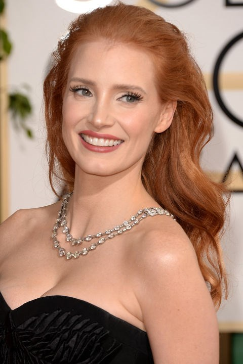 <strong>JESSICA CHASTAIN</strong> <br><br> Jessica Chastain defined what Old Hollywood glamour looks like in the modern age on 2014's Golden Globes red caret.