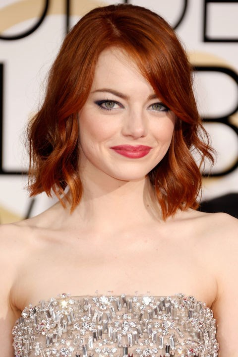 <strong>EMMA STONE</strong>  <br><Br> Emma Stone wearing the lob haircut a million women took to their stylists the day after the Golden Globes in early 2015.