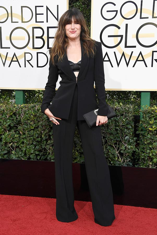 "<strong>Kathryn Hahn</strong><br><br> ""She obvs just finished reading 'How to be Parisian'."" - Anna Lavdaras, beauty writer<br><br> ""I like that she is going against the grain but we don't need to see her bra albeit some kind of leather/satin situation. Perhaps it would have been better to ditch altogether."" - Karla Clarke, senior fashion editor"