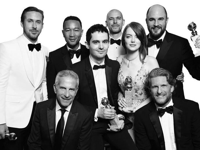 """The cast and crew of <em>La La Land</em>. <br><br> Image: <a href=""""https://www.instagram.com/p/BPCOxHND4G9/"""">@goldenglobes</a>"""