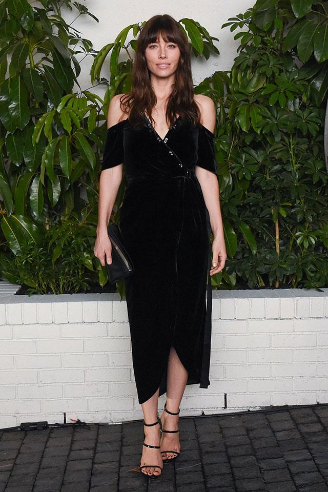 "<strong>Manning Cartell</strong> <br></br> Jessica Biel stepped out at one of the Golden Globe after parties wearing this cold-shoulder Manning Cartell's Divine Excess Wrap Dress. While this style has sold out, get the look with MC's Eye Spy Dress <a href=""http://www.manningcartell.com.au/dresses/eye-spy-dress.html"">here</a>."