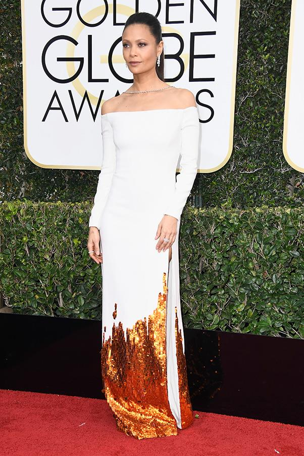 <strong>Embellished Elements</strong><br><br> A-listers took 'embellishment' one step further, specifically adding sequinned motifs found in nature. Cue: Emma Stone in stars, Nicole Kidman with a wave and Thandie Newton lapped by flames. <br><br> Thandie Newton in Monse