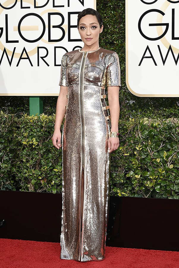 <strong>Imperial Chic</strong><br><br> Evidence of Hollywood's obsession with all things <em>Star Wars</em> (exacerbated by the passing of the late, great Carrie Fisher no doubt) was evident on the red carpet, whether it was Ruth Negga in a C3PO-style metallic gown or Anna Kendrick looking capital 'I' imperial in drapey Vionnet.<br><br> Ruth Negga in Louis Vuitton