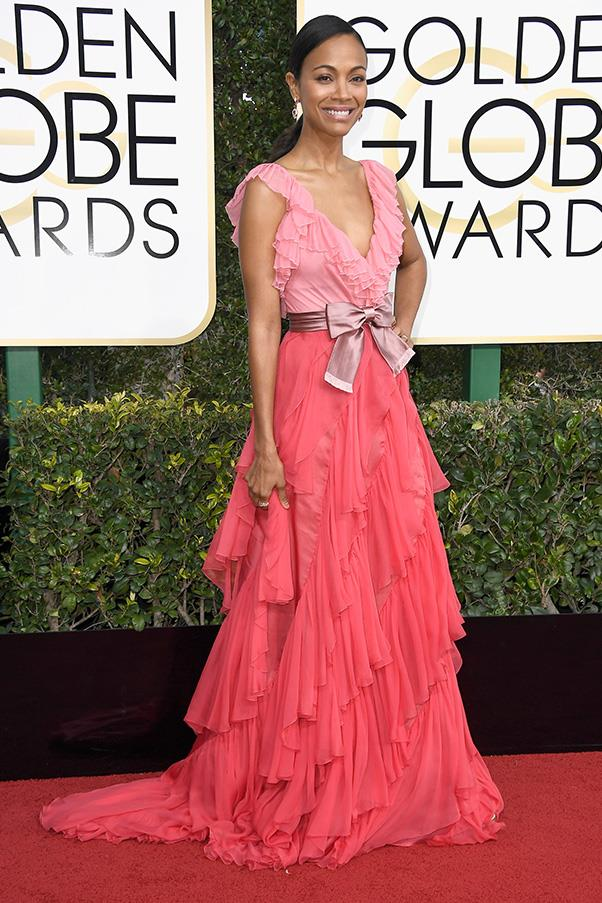 <strong>Hyper-Feminine</strong><br><br> Ruffles, bows and lashings of pink was the order of the day for a bevy of starlets. .<br><br> Zoe Saldana in Gucci