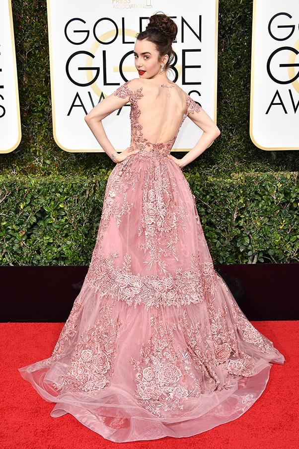 <strong>Hyper-Feminine</strong><br><br> Ruffles, bows and lashings of pink was the order of the day for a bevy of starlets.<br><br> Lily Collins in Zuhair Murad