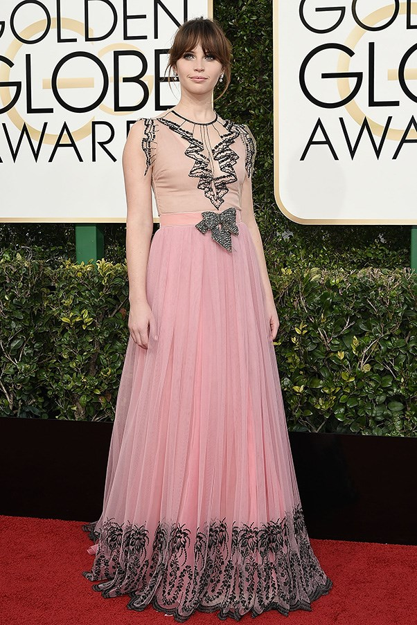 <strong>Hyper-Feminine</strong><br><br> Ruffles, bows and lashings of pink was the order of the day for a bevy of starlets.<br><br> Felicity Jones in Gucci