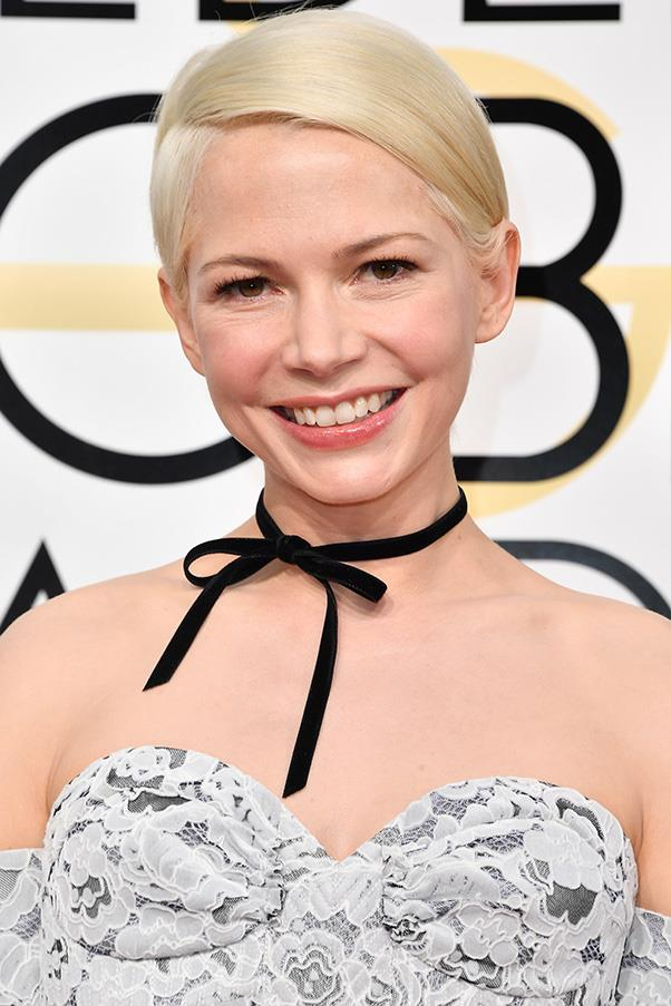 <strong>Ribbons</strong><br><br> Ribbons had a major moment on the red carpet, whether used as a hair-tie (Sienna Miller and Riley Keogh) or a neck-tie (Michelle Williams).<br><br> Michelle Williams in Louis Vuitton