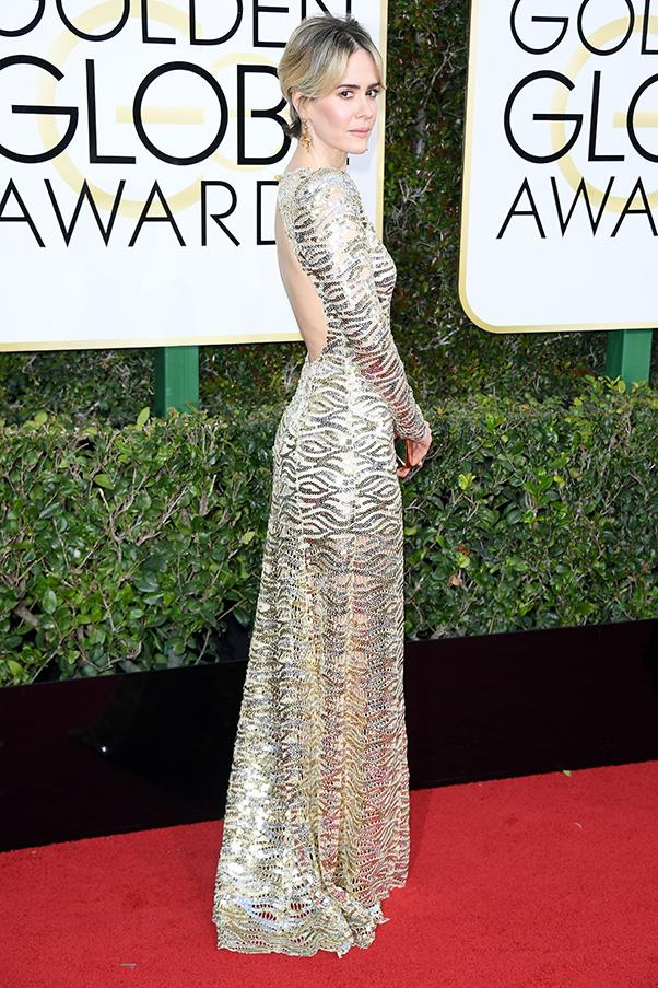 <strong>Silver Surfers</strong><br><br> Head-to-toe silver was an age appropriate choice on the red carpet, with everyone from Felicity Huffman to 12-year-old Millie Bobby Brown opting for metallics.<br><br> Sarah Paulson in Marc Jacobs