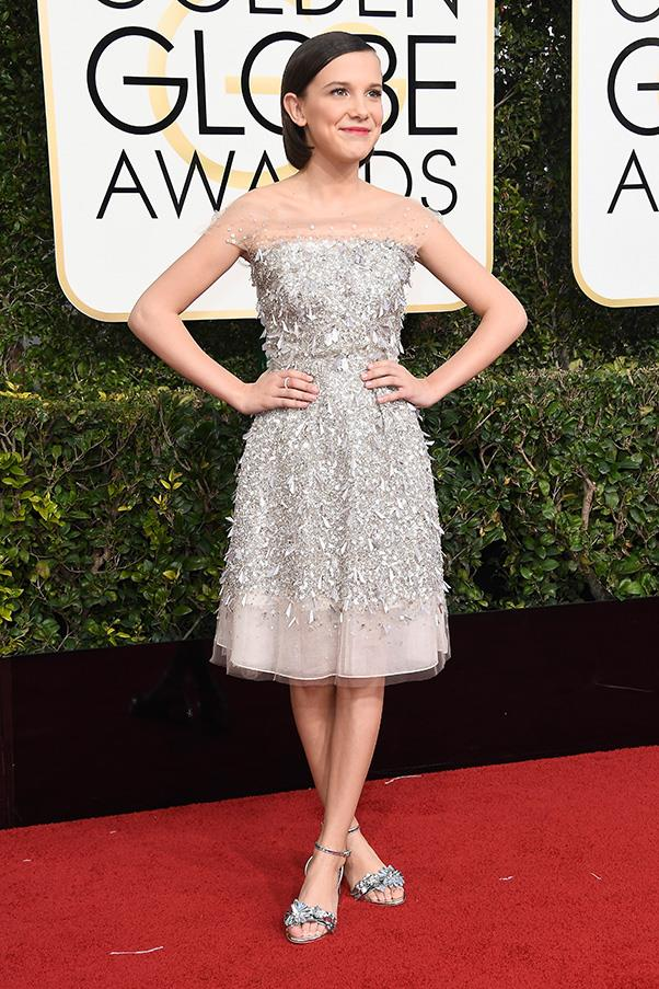<strong>Silver Surfers</strong><br><br> Head-to-toe silver was an age appropriate choice on the red carpet, with everyone from Felicity Huffman to 12-year-old Millie Bobby Brown opting for metallics.<br><br> Millie Bobby Brown in Jenny Packham