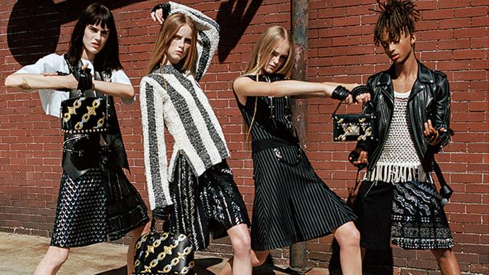 Jaden Smith becomes the face of Louis Vuitton <p> After being spotted often wearing an array of skirts and dresses, 17-year-old Jaden Smith was tapped to be one of the faces of Louis Vuitton's S/S16 womenswear campaign, and was photographed in leather skirt and mesh tank alongside Sarah Brannon, Jean Campbell, and Rianne Van Rompaey.