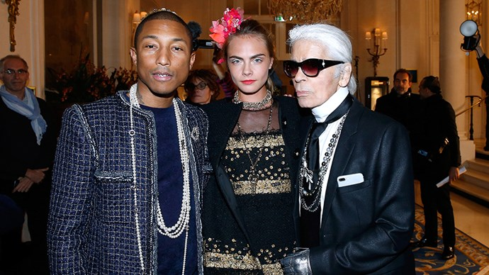 Pharrell Williams becomes the face of Chanel <p> Having seen him wearing iconic Chanel tweed suits and pearl chains, we weren't surprised but delighted when Karl Lagerfeld announced Pharrell Williams as one of the faces of the brand's upcoming campaign for its Gabrielle bag, alongside Kristen Stewart and Cara Delevingne.