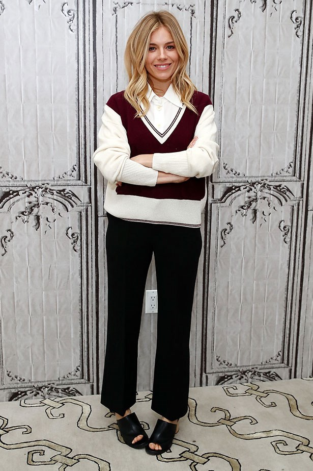 Sienna made a convincing case for Varsity chic at a panel discussion in New York City, 2016.