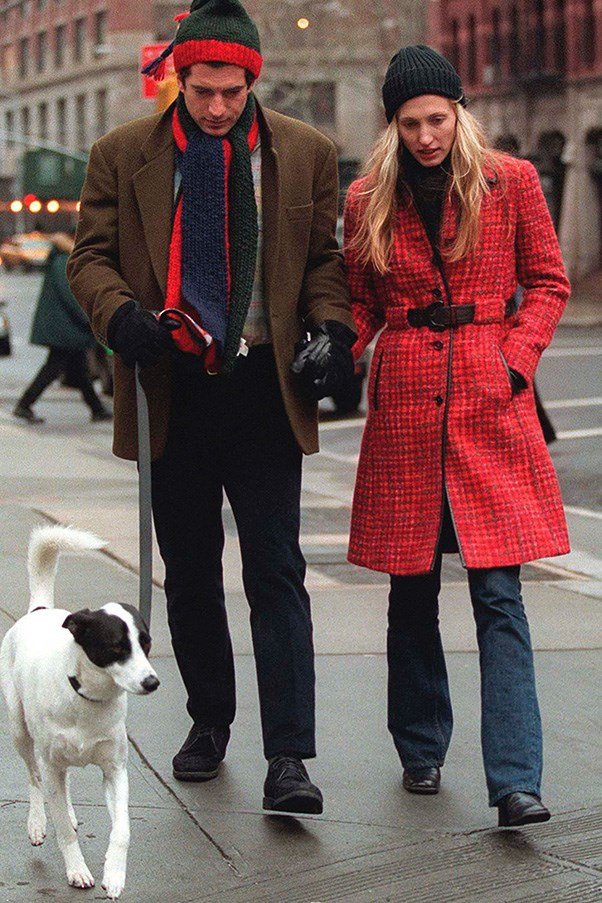 With husband John F. Kennedy Jr. out and about in New York, 1997