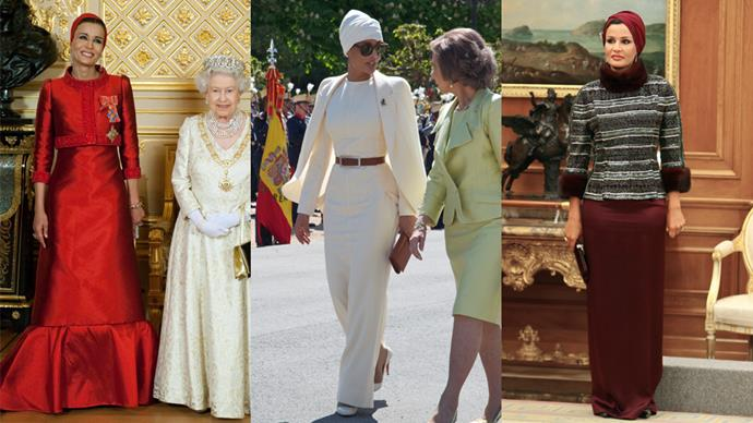 <strong>Sheikha Mozah bint Nasser Al Missned</strong> <br><br> Known for her ever-present chic turban, Mozah often incorporates couture into her wardrobe.