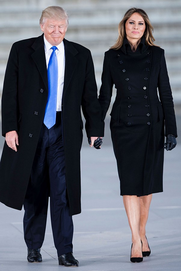 Melania wore a sleek black coat with leather gloves and pumps to Trump's pre-Inauguration concert in Washington D.C.