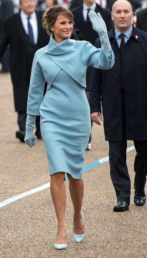 America's new First Lady wore a powder blue Ralph Lauren suit to Donald Trump's inauguration.