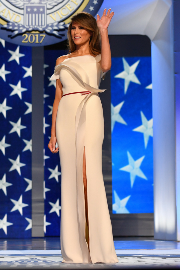 The First Lady wore a gown designed by Hervé Pierre, former creative director of Carolina Herrera, to the first Inaugural ball.