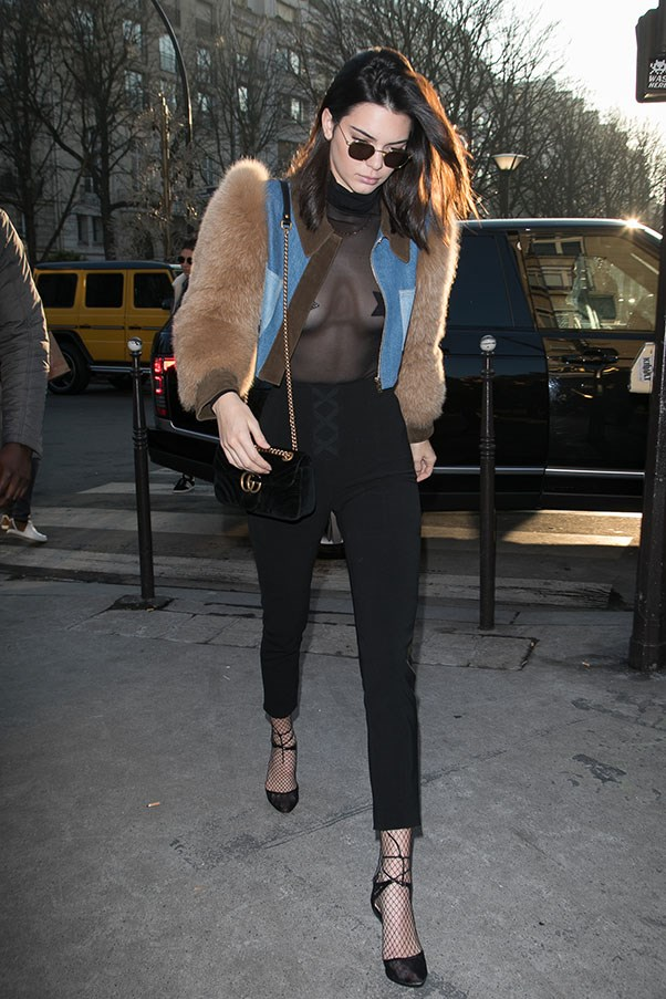 Jenner seen in Paris in the most chic 'free the nipple moment' we have seen from her yet.