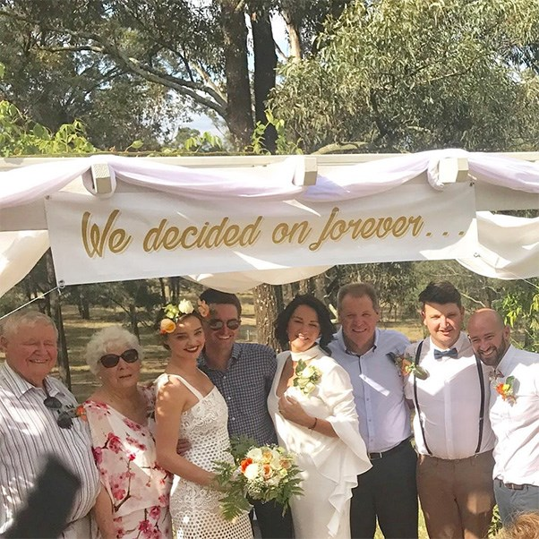 """<strong>Miranda Kerr</strong><br><br> The supermodel played bridesmaid at her brother Matthew's wedding to his long-term partner James 'Jimmy' Wright in the Hunter Valley.<br><br> Image: Instagram <a href=""""https://www.instagram.com/p/BOqrqh-g0Ro/"""">@theresekerr</a>"""