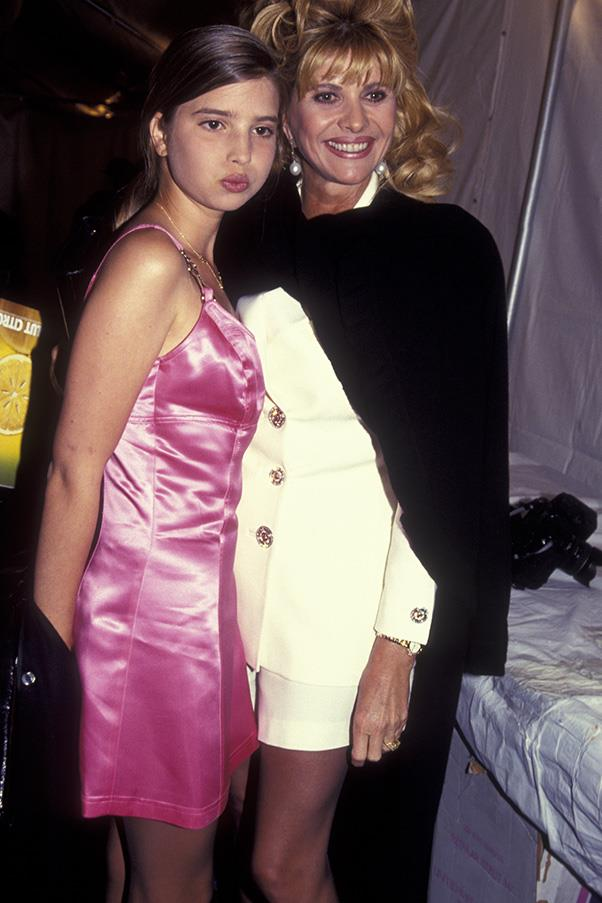 With mother Ivana Trump at the Ralph Lauren autumn winter fashion show, April 1995.
