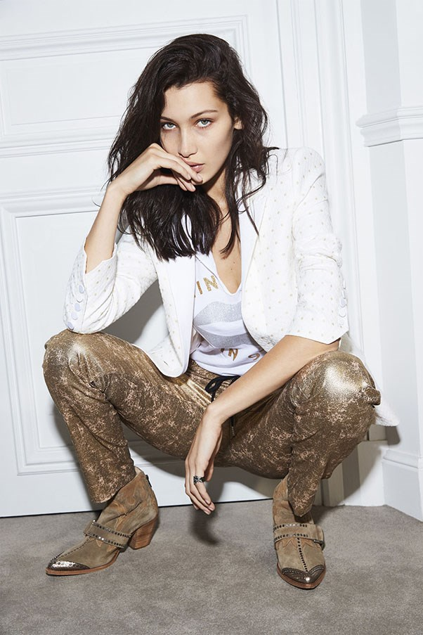 <strong>Zadig & Voltiare</strong> <br><br> Modelled by Bella Hadid.