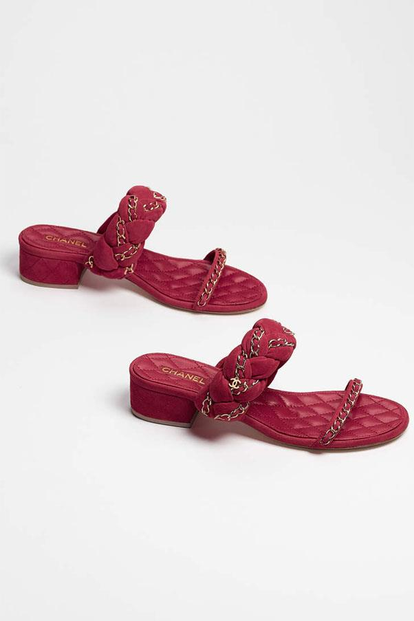 """Chanel shoes, $1,360 at <a href=""""http://www.chanel.com/en_AU/fashion/products/shoes/g/s.mules-suede-goatskin-burgundy.17P.G32641X477930G125.cat.san.html"""">Chanel</a>"""