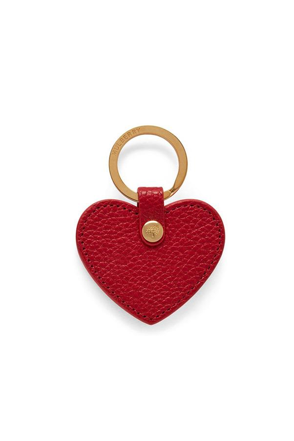 """Mulberry keyring, $130 at<a href=""""http://www.mulberry.com/au/shop/women/accessories/keyrings/heart-keyring-scarlet-small-classic-grain"""">Mulberry</a>"""