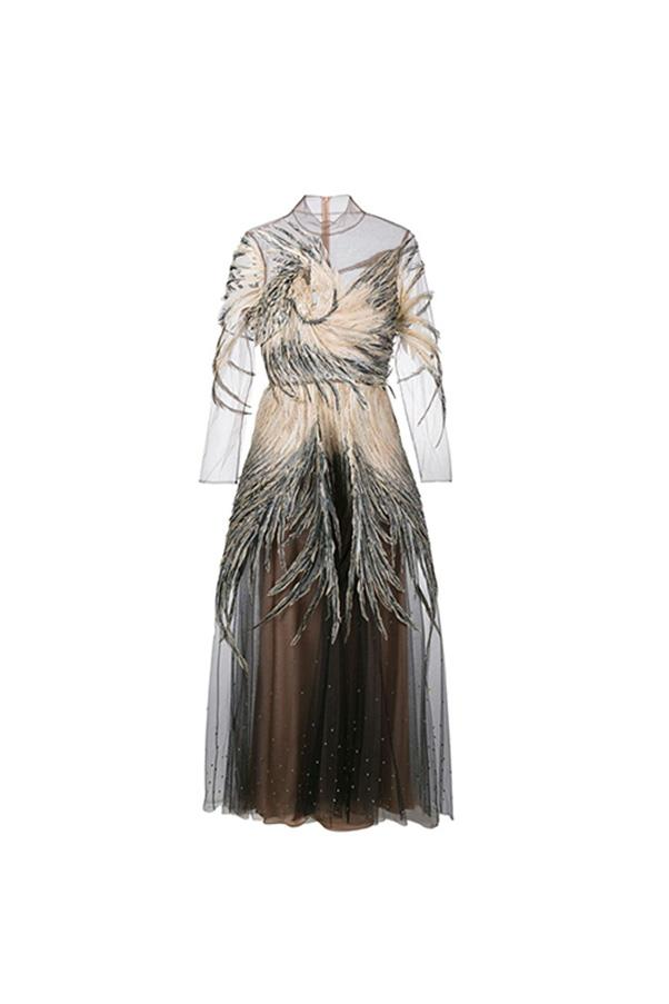 """Valentino dress, $36,800 at <a href=""""https://www.farfetch.com/au/shopping/women/valentino-feather-embellished-tulle-gown-item-11729870.aspx?storeid=9359&from=1&ffref=lp_pic_38_1_"""">Farfetch</a>"""