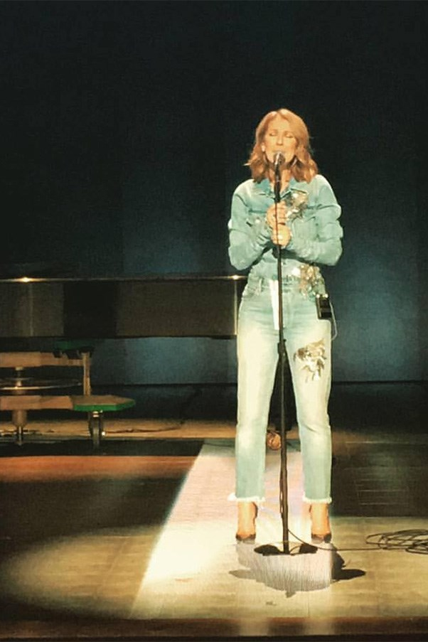 "<strong>January 30th, 2017</strong><br><Br> Celine rocked a custom Off-White embellished denim two-piece to perform a sound check.<BR><BR> Image: Instagram <a href=""https://www.instagram.com/p/BP4MTdIlaTT/"">@luxurylaw</a>"
