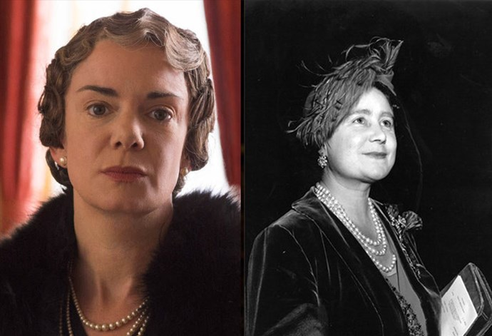 <strong>Victoria Hamilton as the Queen Mother</strong>