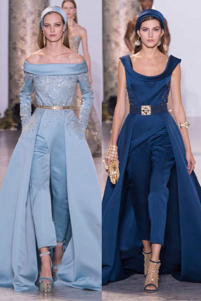 """<a href=""""http://www.harpersbazaar.co.uk/fashion/shows-trends/news/g37572/elie-saab-couture-spring-summer-2017/"""">Elie Saab</a>'s exceptionally chic drousers provided a modern and interesting take on the ball gown. Cigarette-style trousers came out of full-skirted satin dresses, providing what is sure to become a red-carpet favourite and would also make for the ultimate in wedding-guest attire."""