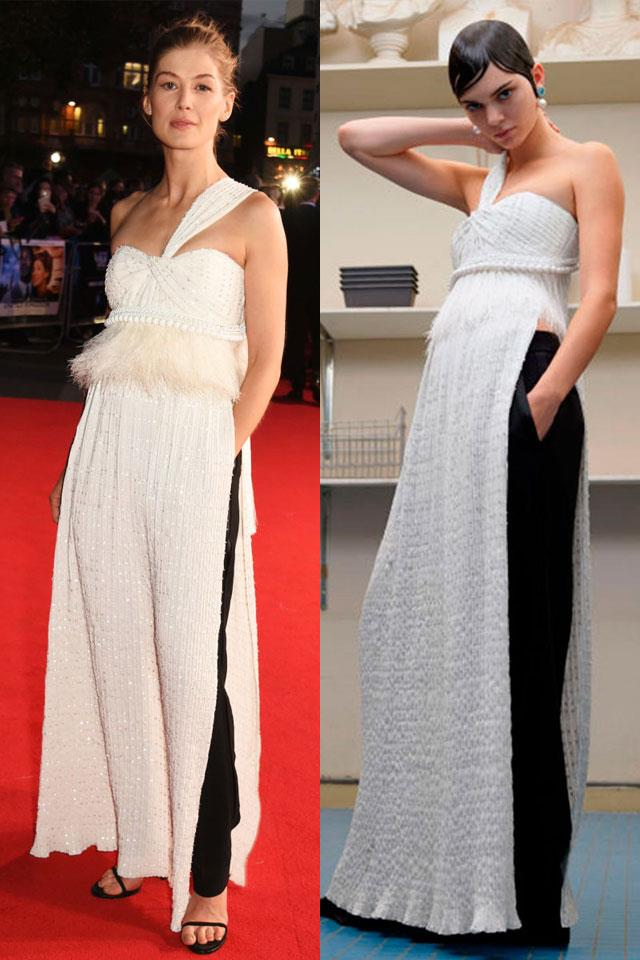 """Givenchy's take saw black tailored trousers paired with different coloured floor-length dresses. Modelled by <a href=""""http://www.harpersbazaar.com.au/news/celebrity-tracker/2015/11/kendall-kylie-jenner-style-test/"""">Kendall Jenner</a> in the house's <a href=""""http://www.harpersbazaar.com.au/news/fashion-buzz/2016/6/kendall-jenner-bella-hadid-givenchy/"""">autumn/winter 2016 couture collection</a>, actress Rosamund Pike chose to wear one for the premiere of <em>A United Kingdom</em> at the end of last year and looked indisputably chic."""