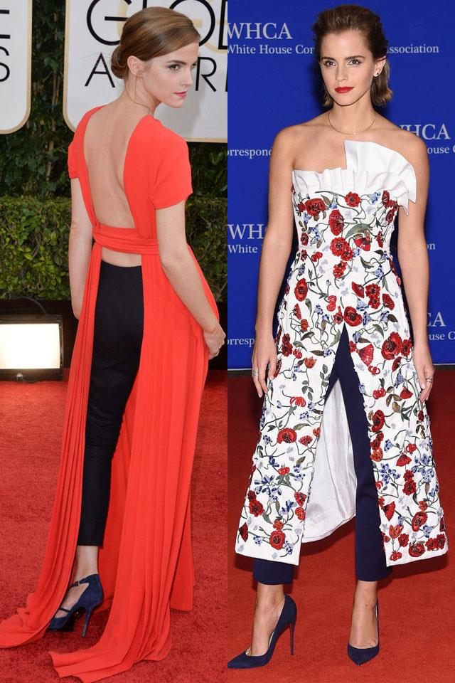 """And we can't fail to mention <a href=""""http://www.harpersbazaar.com.au/people-parties/the-a-list/2011/7/style-profile-emma-watson/"""">Emma Watson</a>'s love for the drouser in recent years. From her 2014 <a href=""""http://www.harpersbazaar.com.au/news/culture-club/2016/12/house-of-dior-exhibition-national-gallery-of-victoria-hautet-couture-2017/"""">Dior</a> Golden Globes ensemble to the dress/trouser hybrid she sported to the White House Correspondents' dinner last year, we definitely think she's going to be first in the queue for that <a href=""""http://www.harpersbazaar.com.au/runway-report/the-edit/2016/10/elie-saab-ss17-paris-fashion-week/elie-saab-ss17-paris-fashion-week-image-2/"""">Elie Saab</a> creation."""