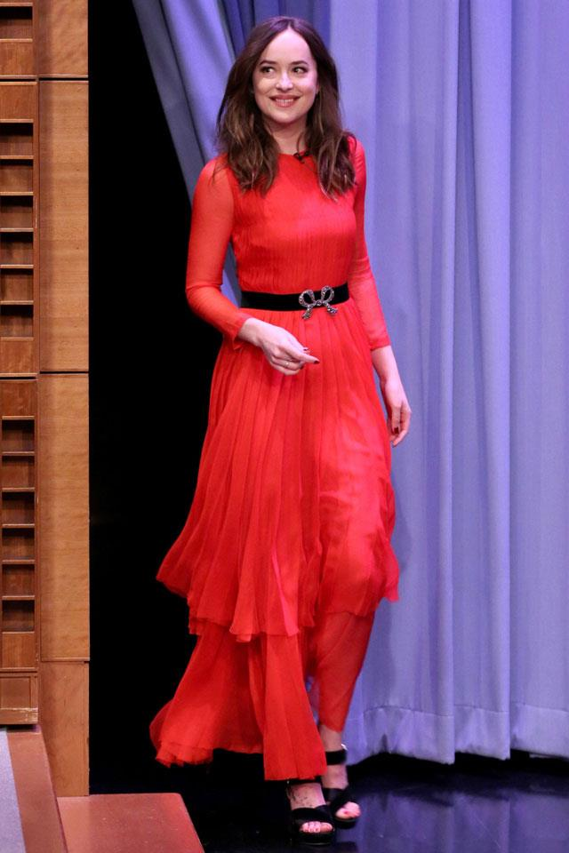 """Meanwhile, <a href=""""http://www.harpersbazaar.com.au/fashion/trending-now/2016/10/dakota-johnson-style/"""">Dakota Johnson</a>'s floaty <a href=""""http://www.harpersbazaar.com.au/people-parties/flash/2016/10/australian-celebrities-stepped-out-to-celebrate-the-gucci-garden-in-melbourne/"""">Gucci</a> number saw a slightly different take – a loose-fitted pleated dress worn over matching floaty trousers."""