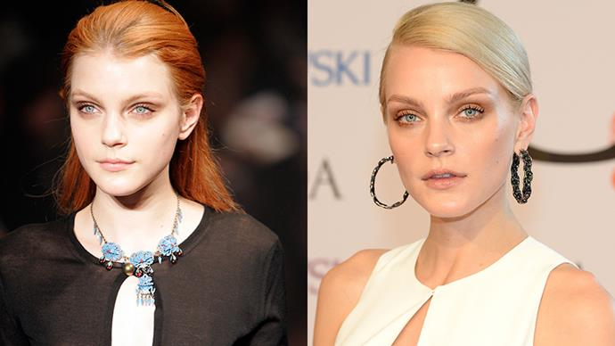 <strong>Jessica Stam</strong><br><br> Hands up if you didn't know Jessica Stam was a redhead? In the early days of her career Stam stuck to her natural born roots, but after dyeing her hair blonde she graduated to supermodel status, landing spots in <em>Forbes</em> 'World's Top Earning Supermodels' list and walking for everyone from Christian Dior haute couture to the Victoria's Secret fashion show.