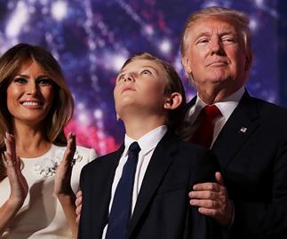 Melania, Barron and Donald Trump.