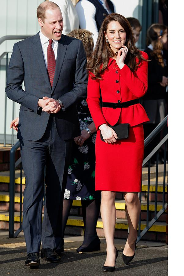 The Duchess wore a red Luisa Spagnoli skirt suit while out in London on February 6th.