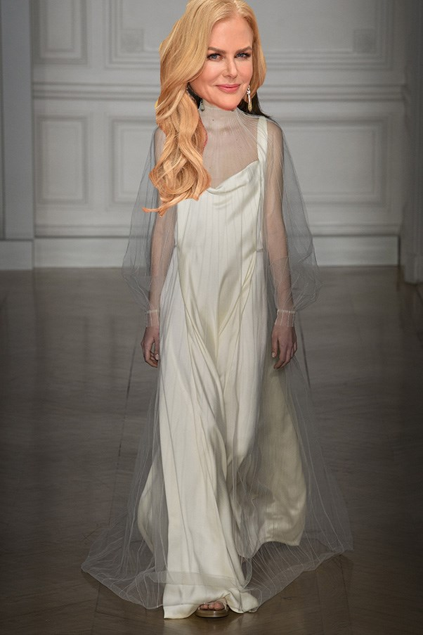 <strong>Nicole Kidman</strong><br><br> Kidman has been busy this awards season - she's done Gucci, she's done McQueen, she's done Prada – so who knows where she'll land for the big one. FWIW I could see her in this soft, ivory gown with tulle overlay from the latest Valentino couture collection.