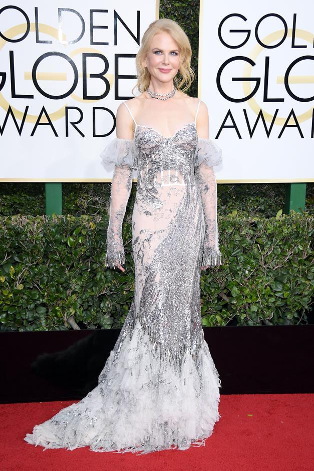 In Alexander McQueen at the Golden Globes.