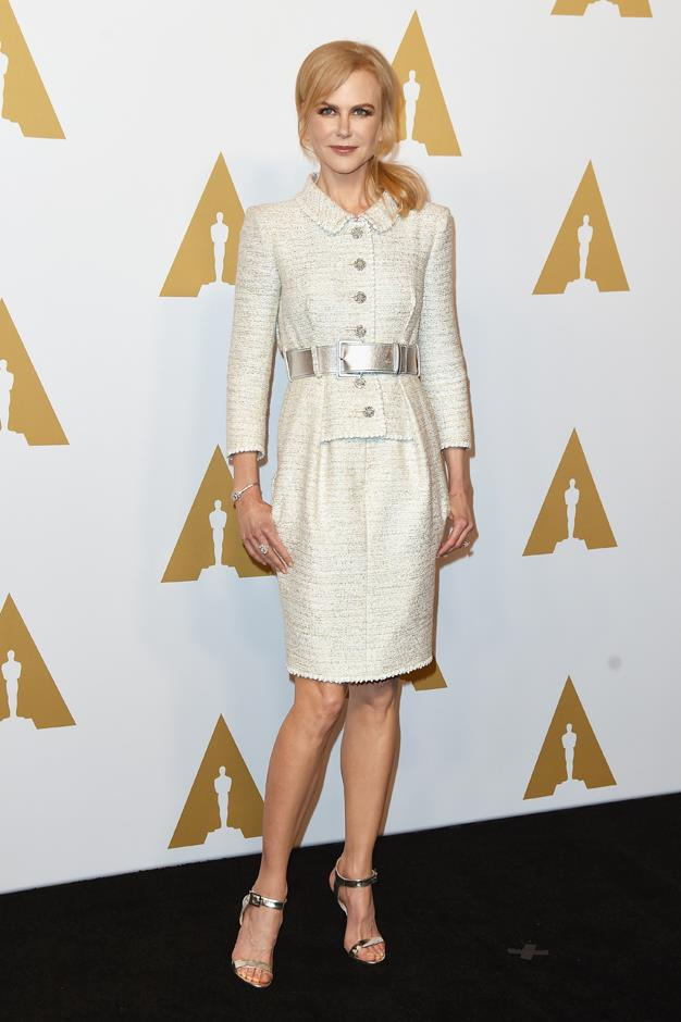 In Chanel Couture at the Oscar Nominee's Luncheon.