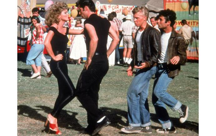 Sandy's red mules in *Grease* (1978)
