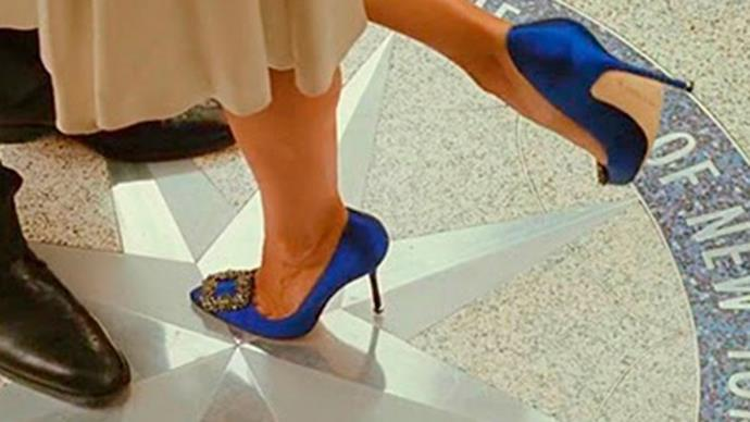 Carrie Bradshaw's Manolo Blahnik Hangisi 105s in *Sex And The City* (2008)