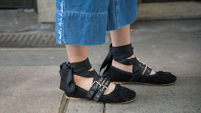 """<strong>Remember, you don't have to wear heels</strong> <br><br> Despite the <a href=""""http://www.harpersbazaar.co.uk/people-parties/bazaar-at-work/news/a37126/nicola-thorp-petition-high-heels/"""" target=""""_blank"""">archaic views of some city-based employers</a>, you can look feminine and elegant without wearing heels; think Miu Miu's ribbon ballet pumps or Gucci's backless loafers. Don't forget about the recent <a href=""""http://www.harpersbazaar.co.uk/fashion/fashion-news/news/a39174/in-praise-of-the-kitten-heel-springs-key-shoe-style/"""">kitten heel revival</a> either—an easy way to add an air of elegance without harming your feet."""