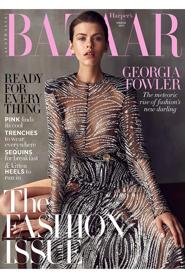 Georgia Fowler stars on the March 2017 cover of <em>Harper's BAZAAR</em> Australia, wearing Louis Vuitton; styled by Naomi Smith; shot by Darren Macdonald; hair by Sophie Roberts and makeup by Linda Jefferyes.<br><br> On newsstands Monday February 13th.