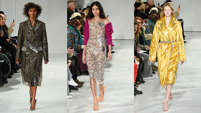 Raf Simons' debut Calvin Klein show proved the designer is seriously going to shake up the American fashion house. Mixed in between U.S.A. themed looks and colour-blocking was the use of see-through material Perspex. From outerwear to shoes to completely see-through dresses. <Br><BR> Take a look at the trend here.