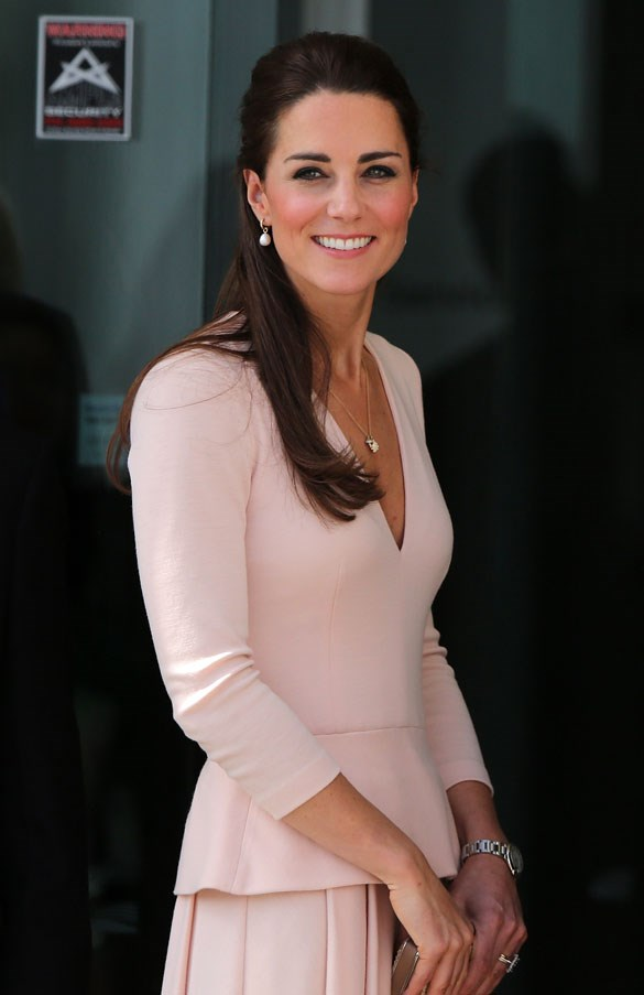 <strong>April, 2014</strong> <br><br> Kate wearing a subtle yet bolder pink lip.