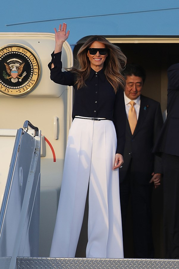 Melania opted for a chic monochrome look as she arrived in Florida. The First Lady has channelled Jackie Kennedy's style once again, after her blue Ralph Lauren inauguration suit was similar to the outfit Jackie Kennedy wore to her husband's 1961 inauguration.