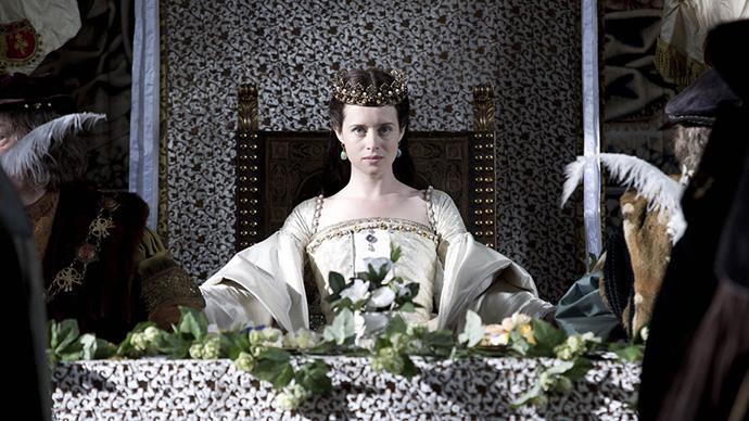 Claire Foy as Anne Boleyn in <em>Wolf Hall</em> cuts a striking figure in her costumes.