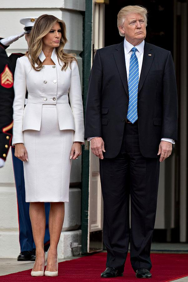 Melania wore a white skirt suit by Karl Lagerfeld to meet the Prime Minister of Israel, Benjamin Netanyahu and his wife Sara.